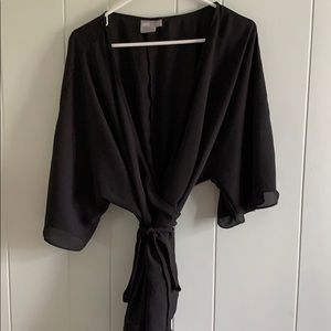 ASOS Wrap top with Kimono sleeve and ruffle botm